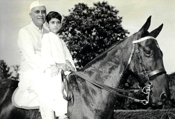 Rajiv Gandhi With His Grandfather Jawaharlal Nehru