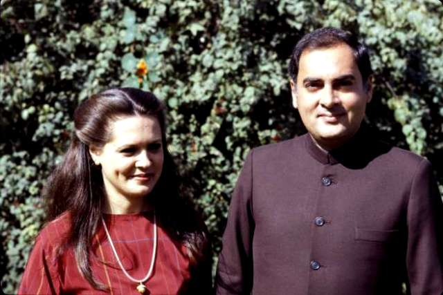 Rajiv Gandhi With His Wife Sonia Gandhi