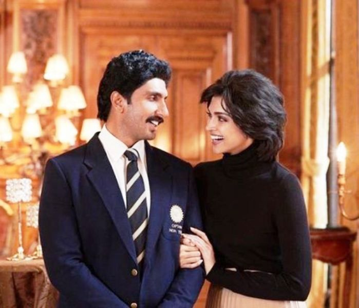 Ranveer Singh as Kapil Dev and Deepika Padukone as Romi Bhatia