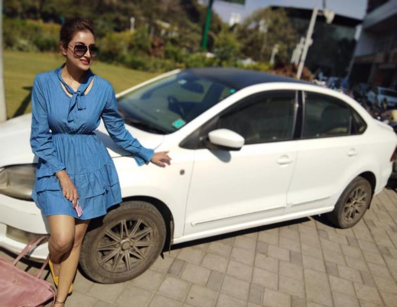 Rupali Bhosale Posing In Front Of Her Car