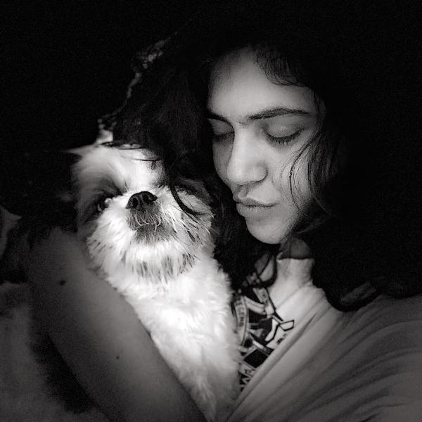 Sherin With Her Pet Dog