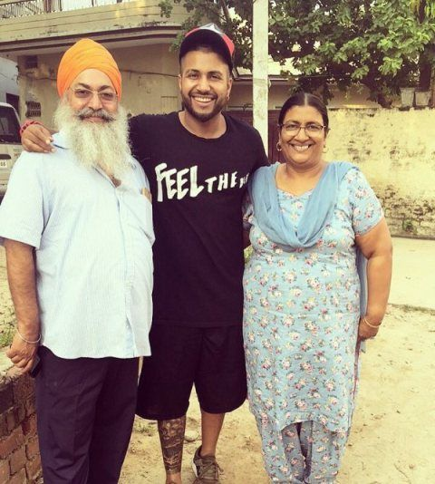 Sukhe with his parents