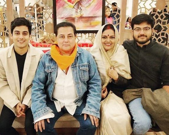 Sushmita Mukherjee with her husband and sons