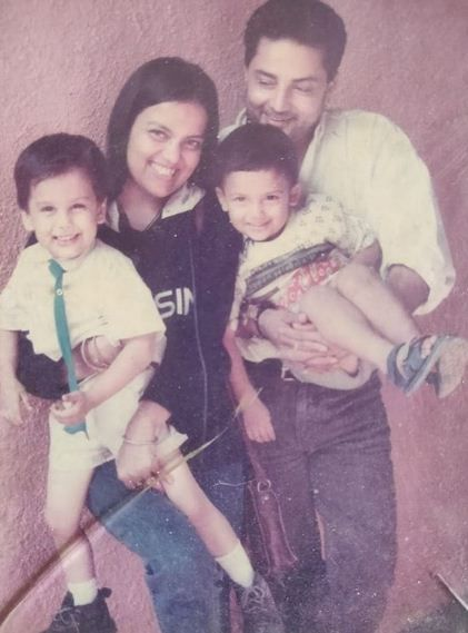 Sushmita Mukherjee with her husband and two sons