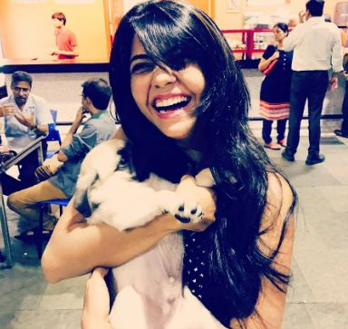 Veena Jagtap with dogs