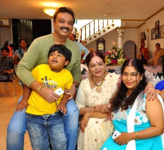 Vijaya Nirmala with her son, daughter in law and grandchild