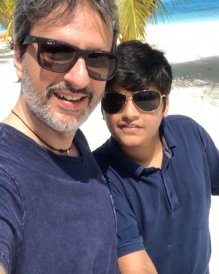 Anil Thadani with his son
