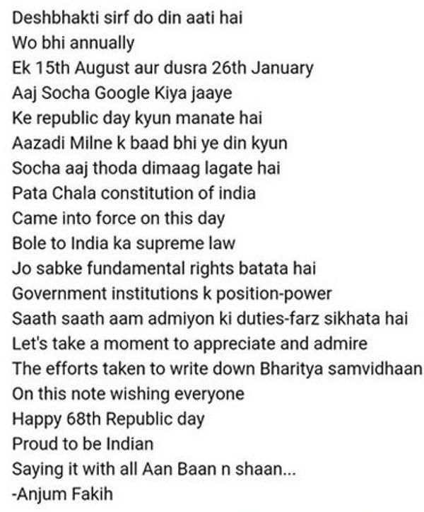 Anjum Fakih's Post On Republic Day