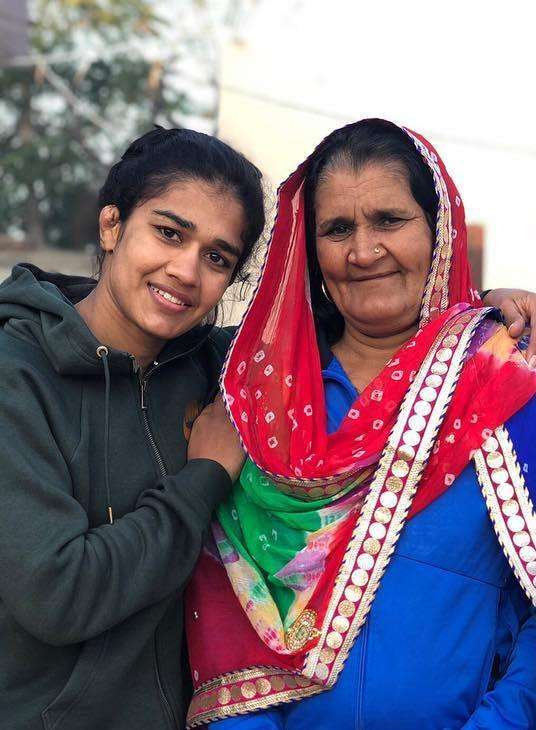 Babita Phogat with her mother