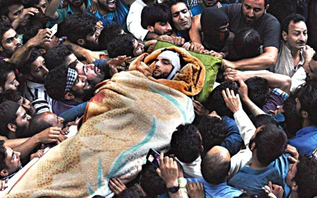 Burhan Wani's Body Being Taken To His House