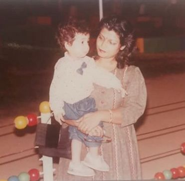 Childhood image of Varun Sharma with his mother