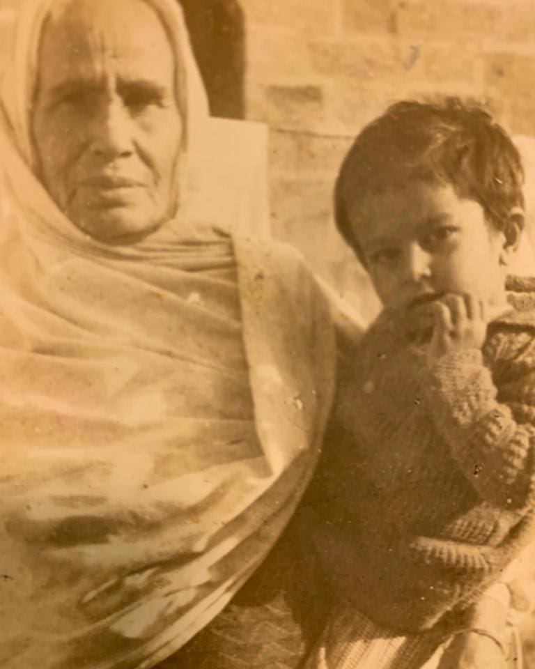 Childhood image of Vindu Dara Singh with his grandmother