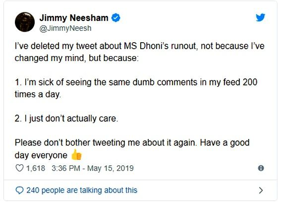 James Neesham's tweet about MS Dhoni