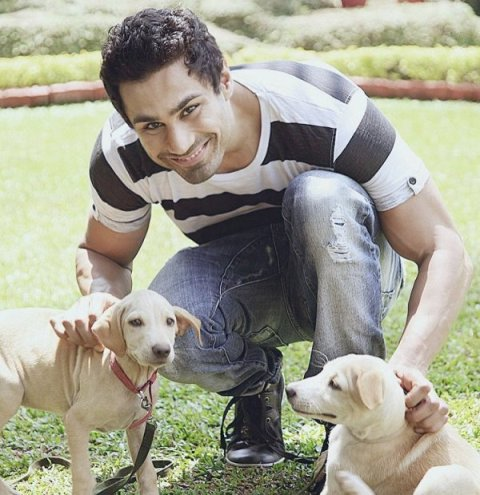 Karan Oberoi with his pet dogs