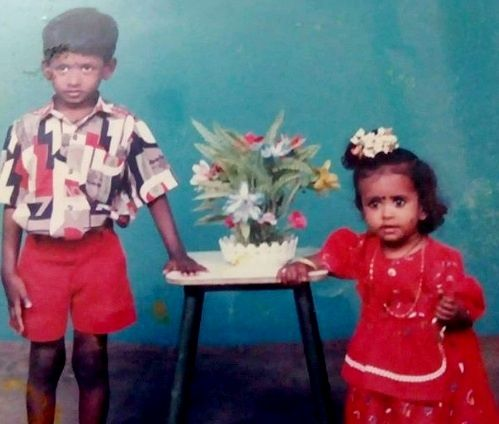 Mahesh Vitta With His Sister Bharathi During Childhood
