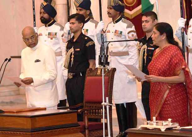 Nirmala Sitharaman taking oath as Defence Minister of India