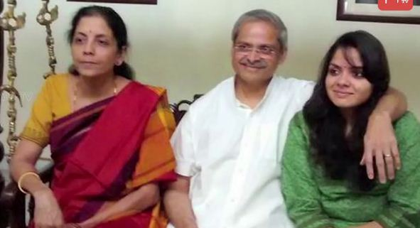 Nirmala Sitharaman with her husband and daughter