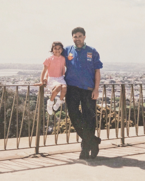 Nityaami Shirke with her father