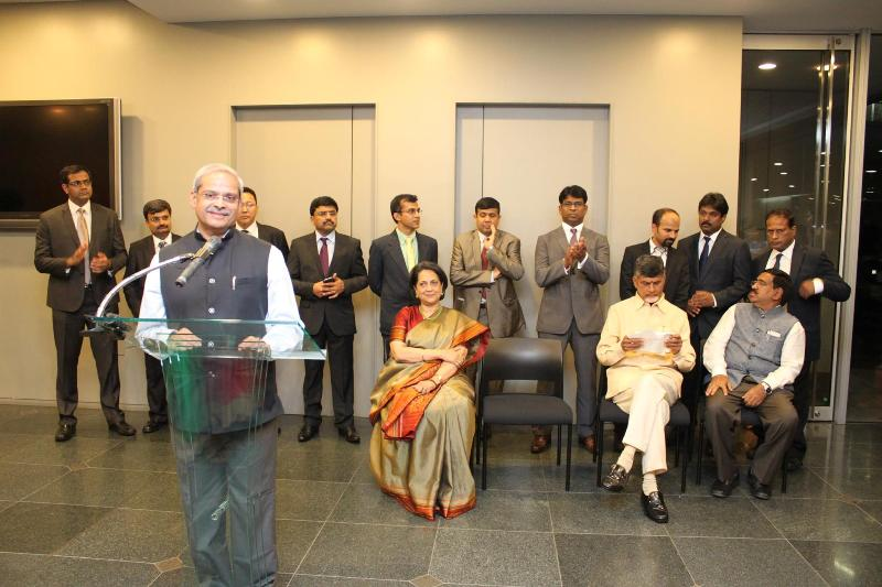 Parakala Prabhakar addressing the Indian Community get together at the Indian Embassy