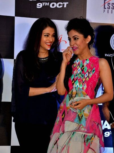 Priya Banerjee with Aishwarya Rai at the screening of Jazbaa