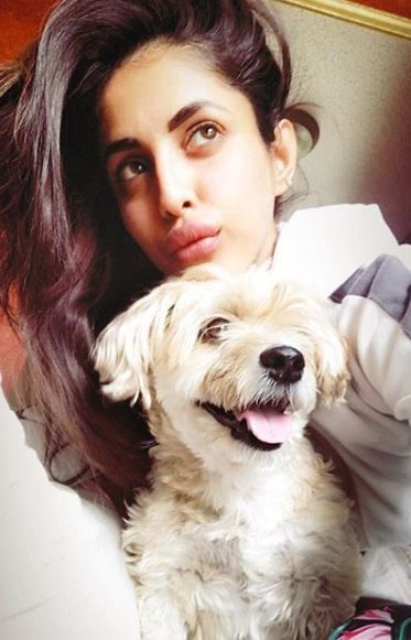 Priya Banerjee with her pet dog Abby