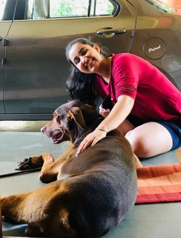Revathi Pillai with her dog