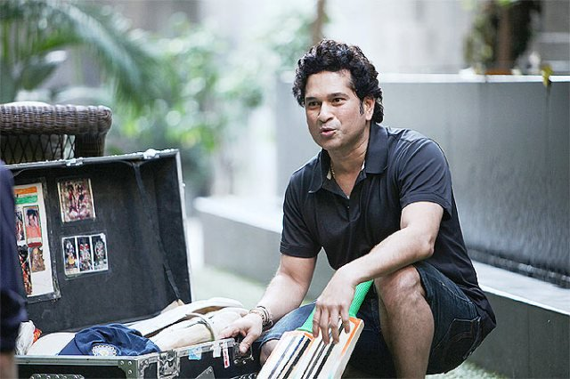 Sachin Tendulkar with his Cricket Kit