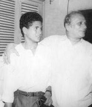 Sachin Tendulkar with his father