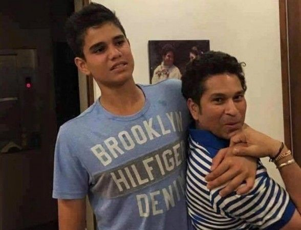 Sachin Tendulkar with his son