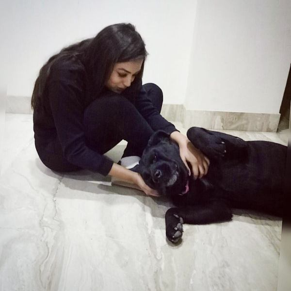 Samiksha Jaiswal with her pet