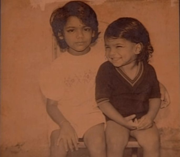 Shaan With His Sister As A Child
