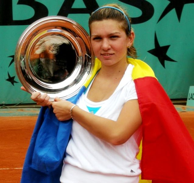 Simona Halep With Her French Open Junior Championship Trophy in 2008