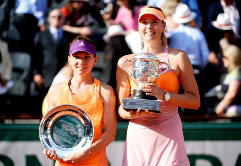 Simona Halep With Maria Sharapova In The 2014 French Open