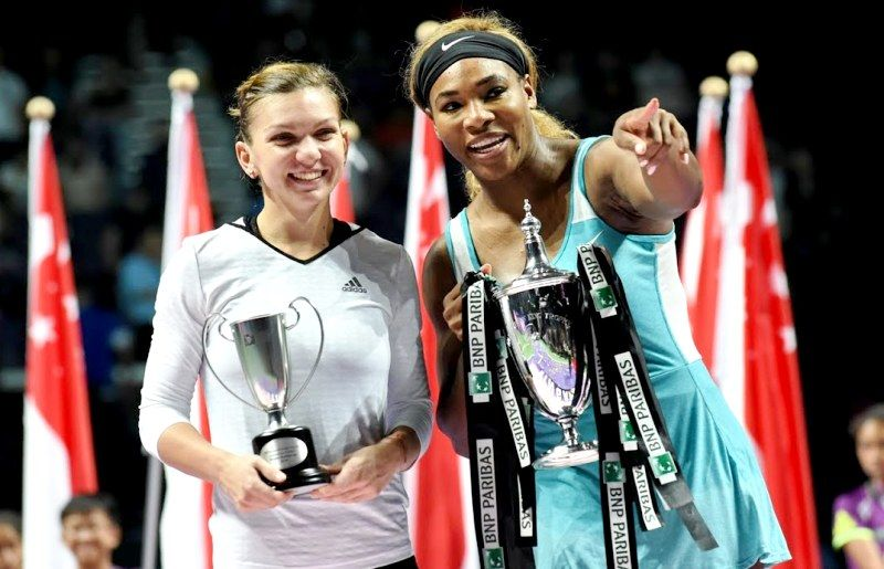 Simona Halep With Serena Williams In The WTA Finals