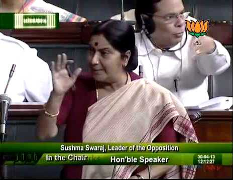 Sushma Swaraj As The Leader Of Opposition In The Lok Sabha
