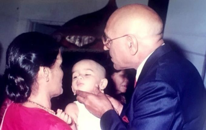 Vardhan Puri with his grandparents