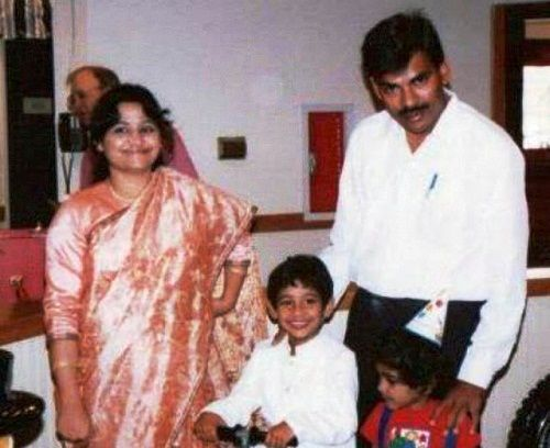 Varun Sandesh's childhood photo with his parents and sister