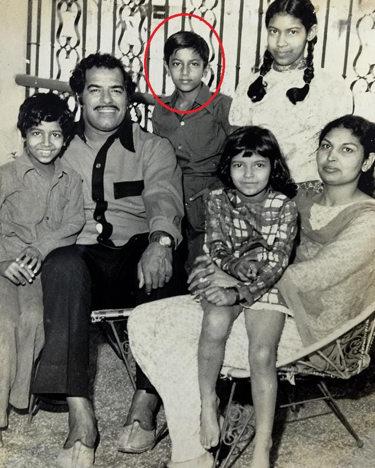 Vindu Dara Singh (encircled) with his family