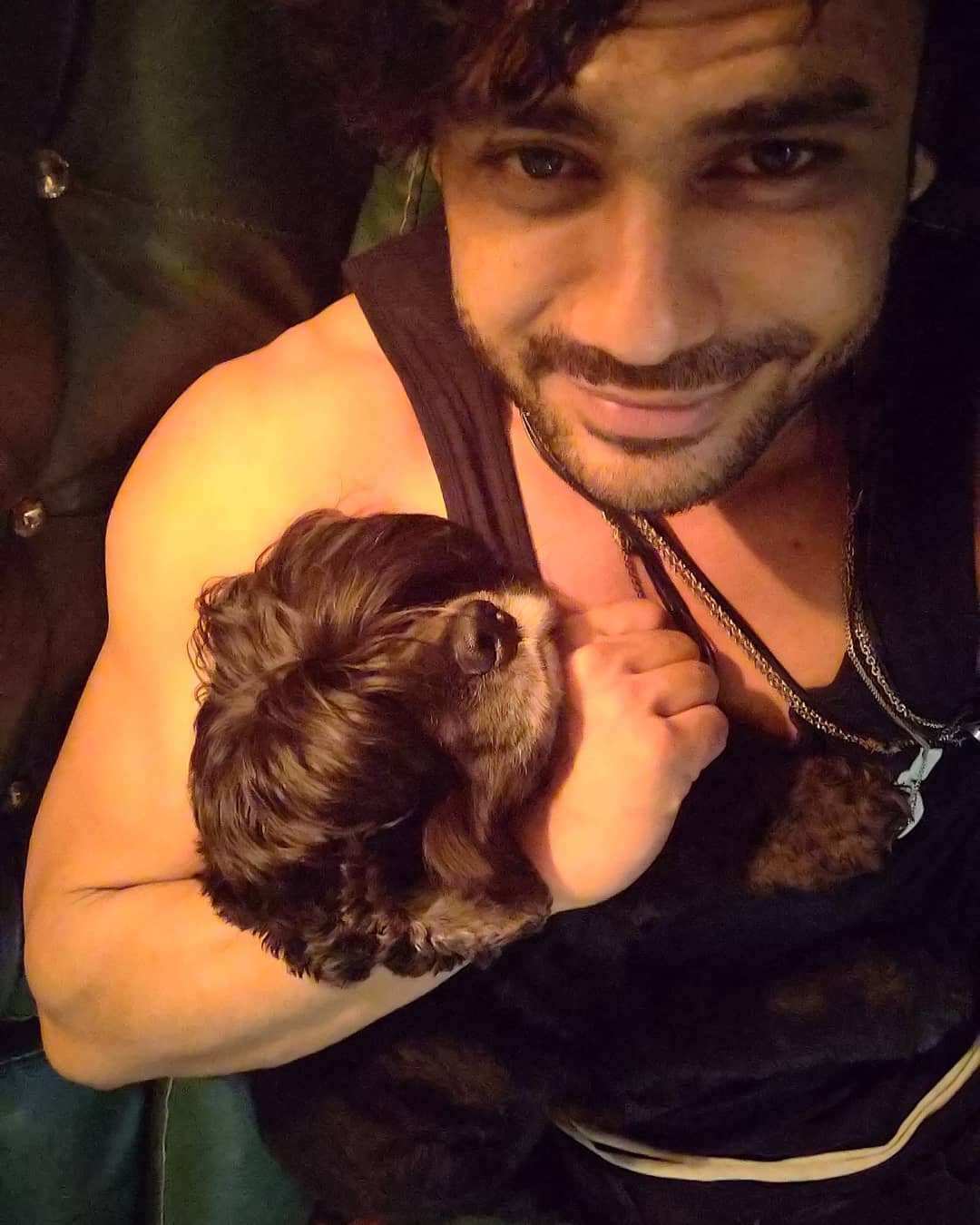 Vishal Aditya Singh with his dog
