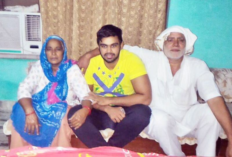 Vivek Suhag with his parents
