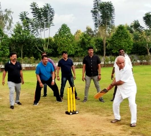 BS Yediyurappa Playing Cricket