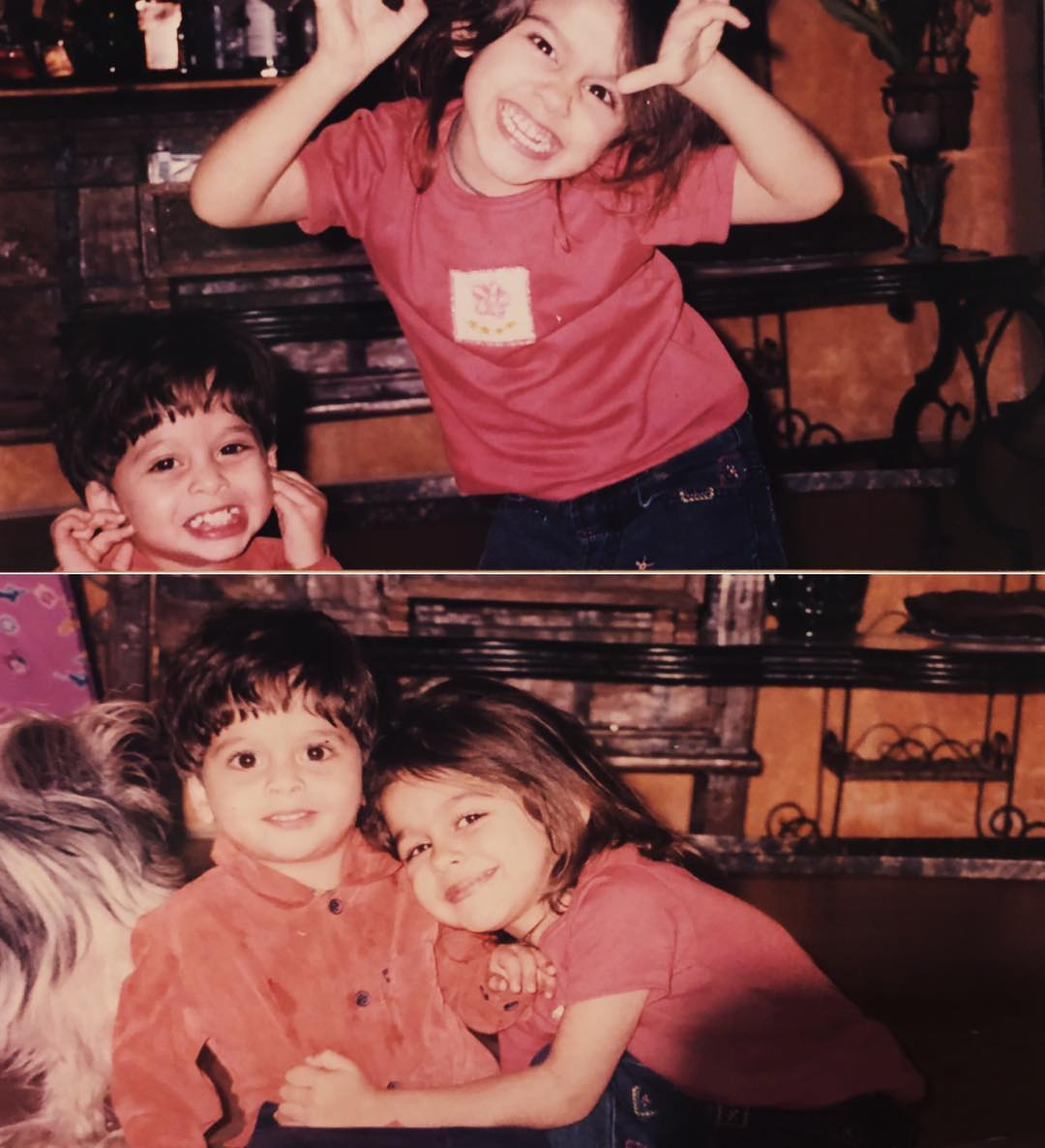 Childhood image of Aalia Furniturewalla with her brother
