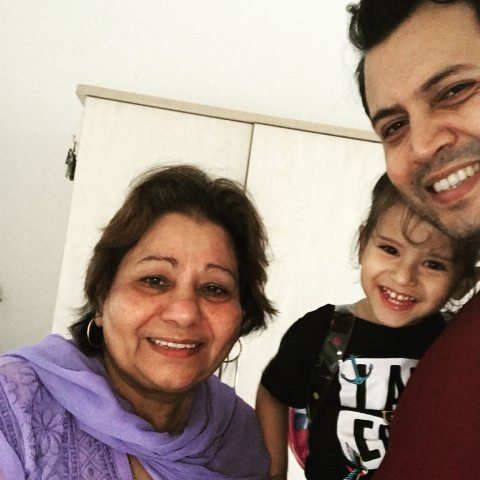Abhinav Kohli with his mother and son