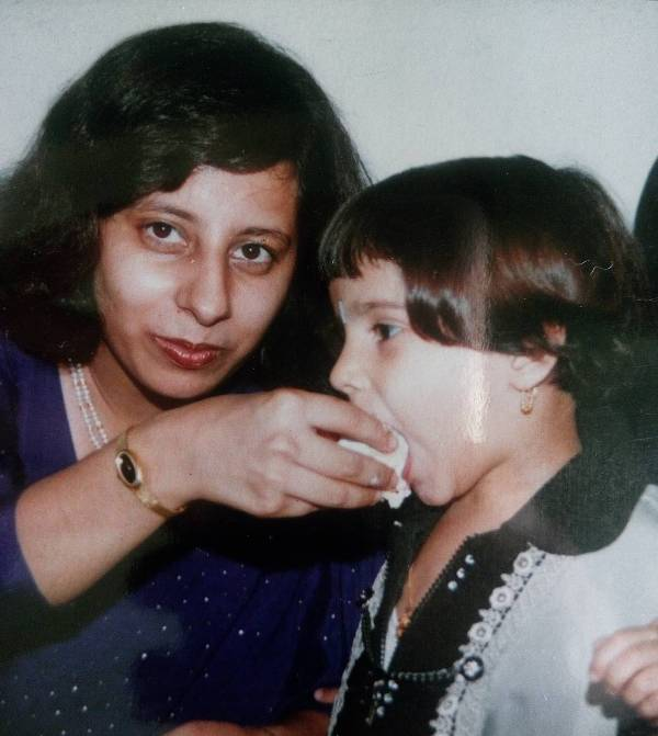 Agrita Dhawan with her mother