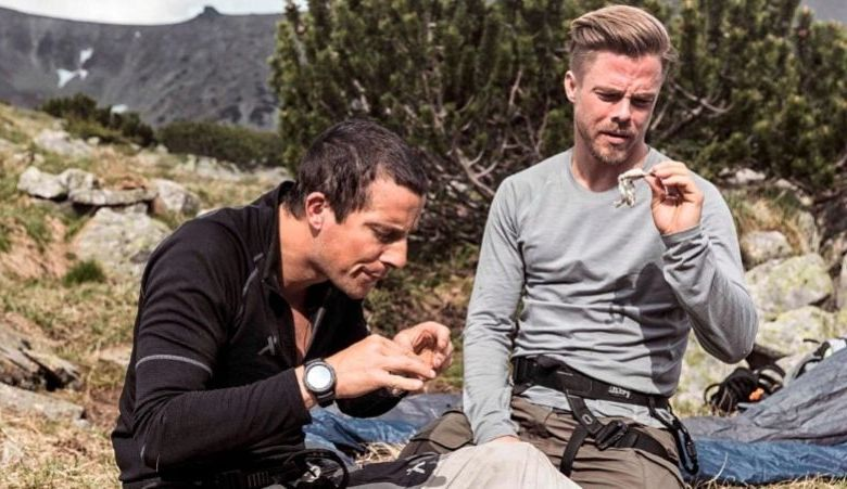 Bear Grylls and Derek Hough Killing and Cooking Frog