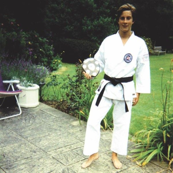 Bear Grylls with his second dan black belt in Shotokan Karate