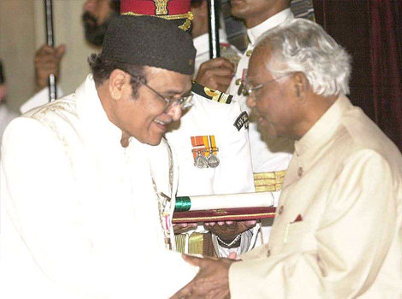 Bhupen Hazarika Receiving Padma Bhushan