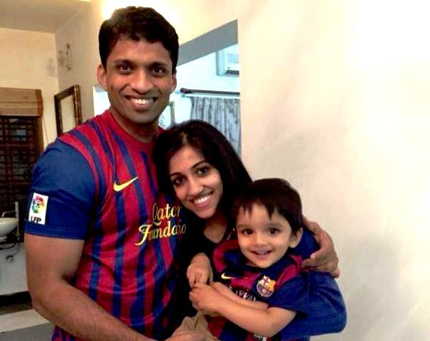 Byju Raveendran with his Wife Divya Gokulnath and his Son Nish