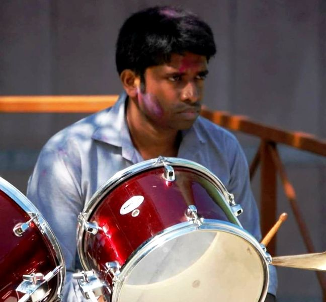 Kannan Gopinathan playing the drums