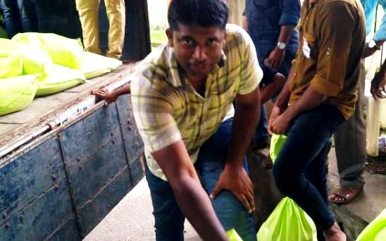 Kannan Gopinathan volunteering during the Kerala floods